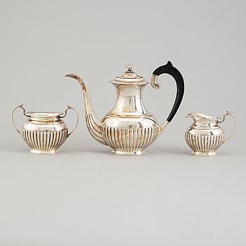KAFFESERVIS, 3 delar, silver, 1900-tal.