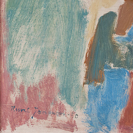 Rune jansson, oil on panel, signed and dated 50.