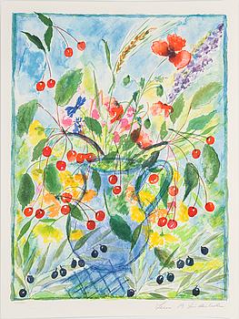 """LENA LINDERHOLM, färglitografier, 3 st i mapp """"Livets Fröjder"""", signerade och numrerade 330/1750."""