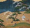 A pair of japanese six panel screens, edo period, 19th century.