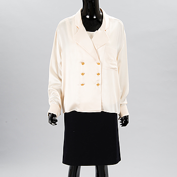 A Silk Top with a Blouse and Skirt, size 46(FR).