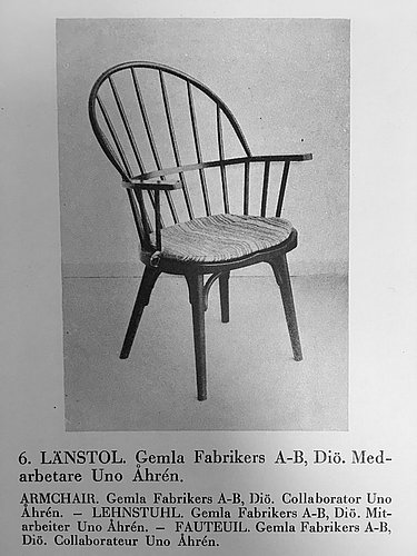 Uno åhrén, a black stained birch chair, gemla sweden 1930's. this model was introduced at the 1930 stockholm exhibition.