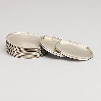 WIWEN NILSSON, coasters, silver, 11 st (9+2), Lund 1936-37.