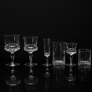 """INGEBORG LUNDIN, glasservis, """"Silvia"""", ca 88 delar, Orrefors."""