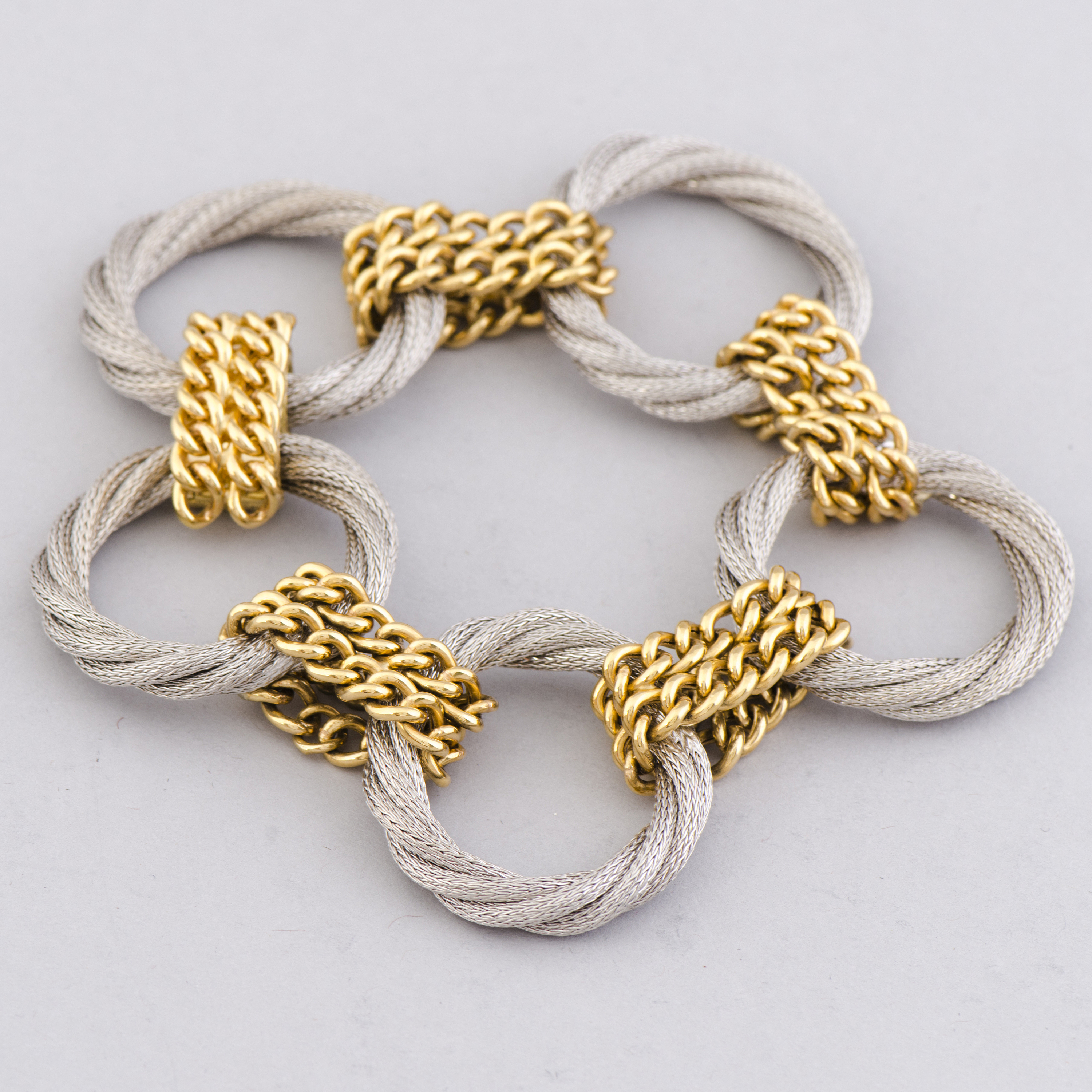 A BRACELET, 18K gold and white gold  Italy, import marks T