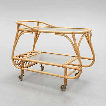 A bamboo and rattan tea trolley, 1940's.