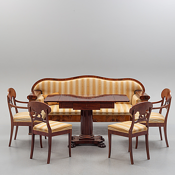 A six piece Empire/Empire style furniture suite, ealty 19th-early 20th Century.