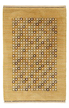 """204. Barbro Nilsson, A CARPET, """"Falurabatten, gul"""", knotted pile, ca 160 x 104,5 cm, signed AB MMF BN."""
