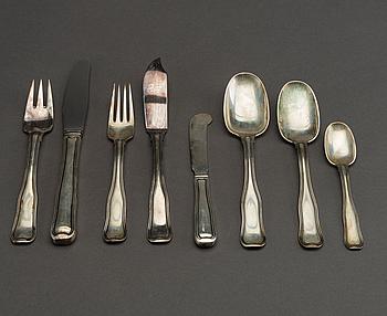 "A set of ca 72 pcs silver cutlery, ""Old Danish/Dobbeltriflet"", Georg Jensen, Denmark,"