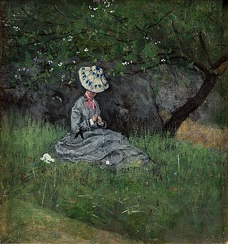 328. Axel Lindman, Woman in the meadow.