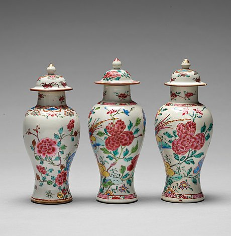 Three famille rose vases with covers, qing dynasty, qianlong (1736-95).