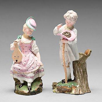 256. FIGURINER, två stycken, porslin. Höchst, 1700-tal.