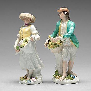 228. FIGURINER, två stycken, porslin. Meissen, 1700-tal.