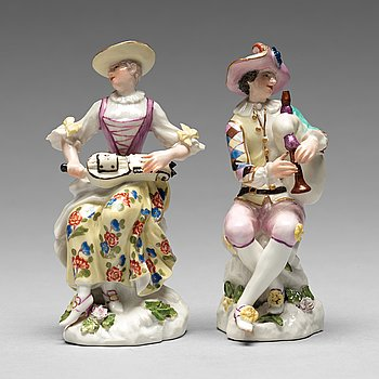 236. FIGURINER, ett par, porslin. Meissen, 1700-tal.