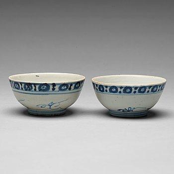 206. SKÅLAR, två stycken, porslin, Ming dynastin (1368-1644).