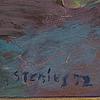 Per stenius, olja på pannå, signerad och daterad stenius 72