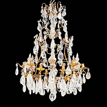 68. A French 19th century twelve-light chandelier.