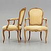 Two matched louis xv 18th century armchairs.