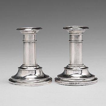 110. Sven Olson, ljusstakar, ett par, silver, Ängelholm 1803, Gustavianska.