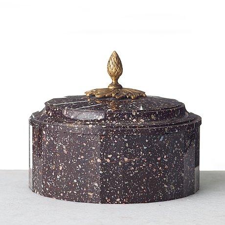 A swedish empire 19th century porphyry butter box.