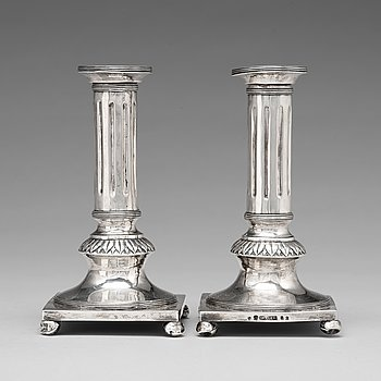 109. Jacob Möller, ljusstakar, ett par, silver, Malmö 1799, Gustavianska.