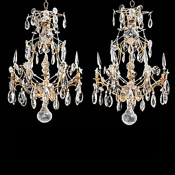 61. A pair of Swedish Rococo 18th century six-light chandeliers by Olof Westerberg dated 1789 and 1790.