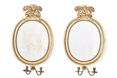 A pair of gustavian late 18th century two-light girandole mirrors by johan åkerblad (master in stockholm 1758-1799).