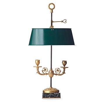 79. BOUILLOTTELAMPA, för två ljus, Frankrike 1800-tal, Empirestil.