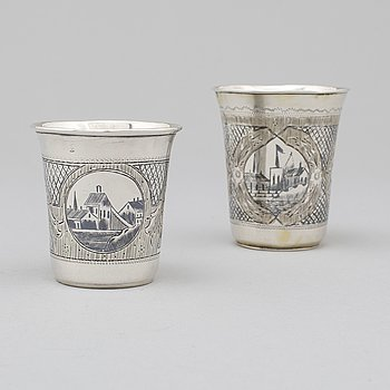 Two Russian 19th century silver and niello beakers, marked Moscow.