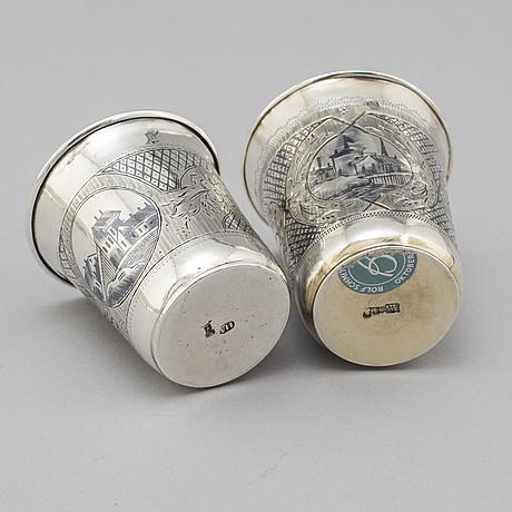 Bägare/vodkakoppar, 2 st, silver och niello, m dmitriyev samt okänd 1868, bägge moskva.