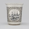 A russian 19th century silver and niello beaker, marked pavel ovchinnikov, moscow 1868