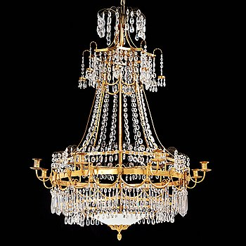 70. A Swedish late Gustavian circa 1800 eight-light chandelier attributed to Carl Henrik Brolin (1765-1832).