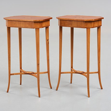 A pair of late empire 19th century tables.