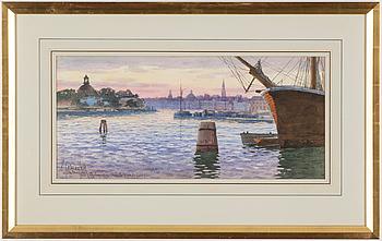 HJALMAR FALK, akvarell, signerad och daterad 1908.