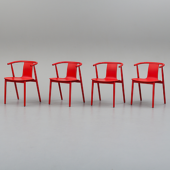 Four Cappellini wooden chairs.