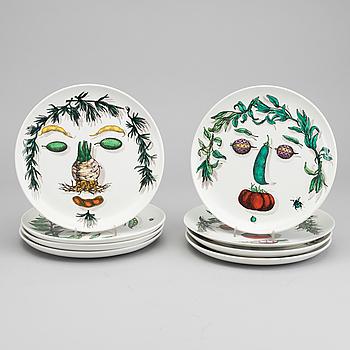 TALLRIKAR, 8 st, porslin, Fornasetti Italien.