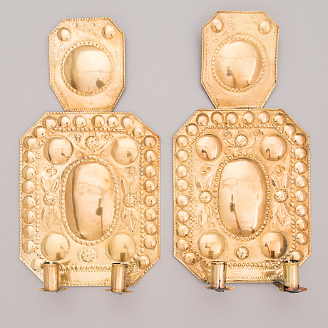 A PAIR OF WALL SCONCES, Baroque style late 19th century. - Bukowskis