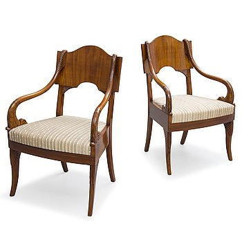 75. A PAIR OF RUSSIAN ARMCHAIRS, empire early 19th century.