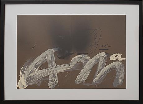 Antoni tÀpies, färglitografi, ur derrière le miroir nr 250 1982