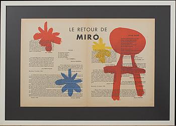 JOAN MIRÓ, färglitografi, ur Derrière le Miroir nr 14-15 1948, 1:a upplagan.