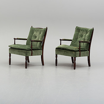 A pair of probably 1970s easy chairs by Nordiska Kompaniet.