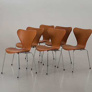 ARNE JACOBSEN, a set of six Sjuan chairs, Denmark later part of the 20th century.
