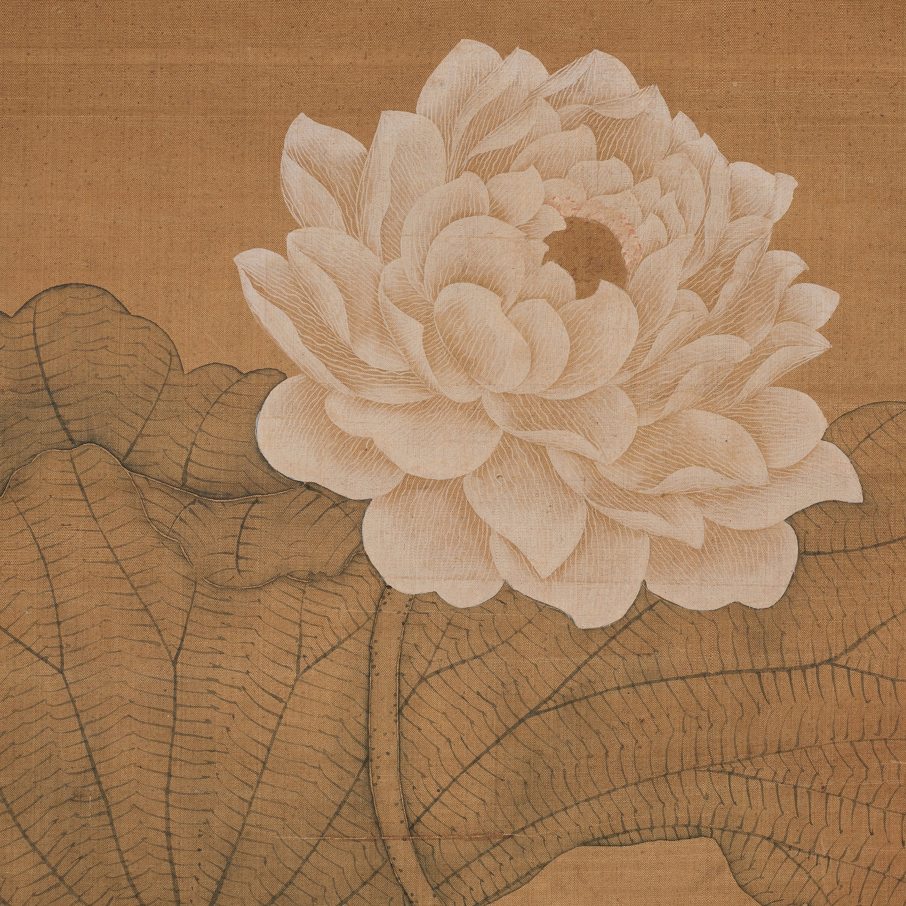 A Painting Of Lotus Flowers In Song Style In The Style Of Yun