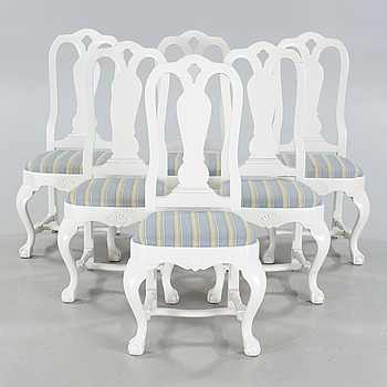 Six chairs by Carl Christensen, signed and dated 1919.