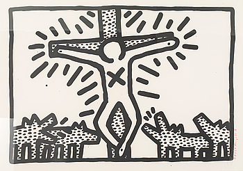 KEITH HARING, a litograph, signed A-P 6-8 K. Haring 3.82.