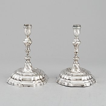 A pair of 18th century German silver candlesticks, mark of Philipp Caspar Scheppich, Augsburg 1761-1763.