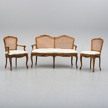 a sofa and two chairs, second half of the 20th century.