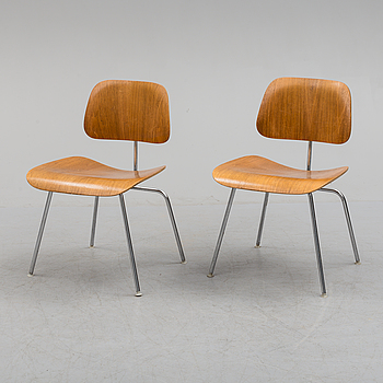 CHARLES & RAY EAMES, a pair of DCM chairs from Herman  Miller.