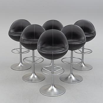 "Six ""Venus"" barstools by Johansson Design, cirac 2000."