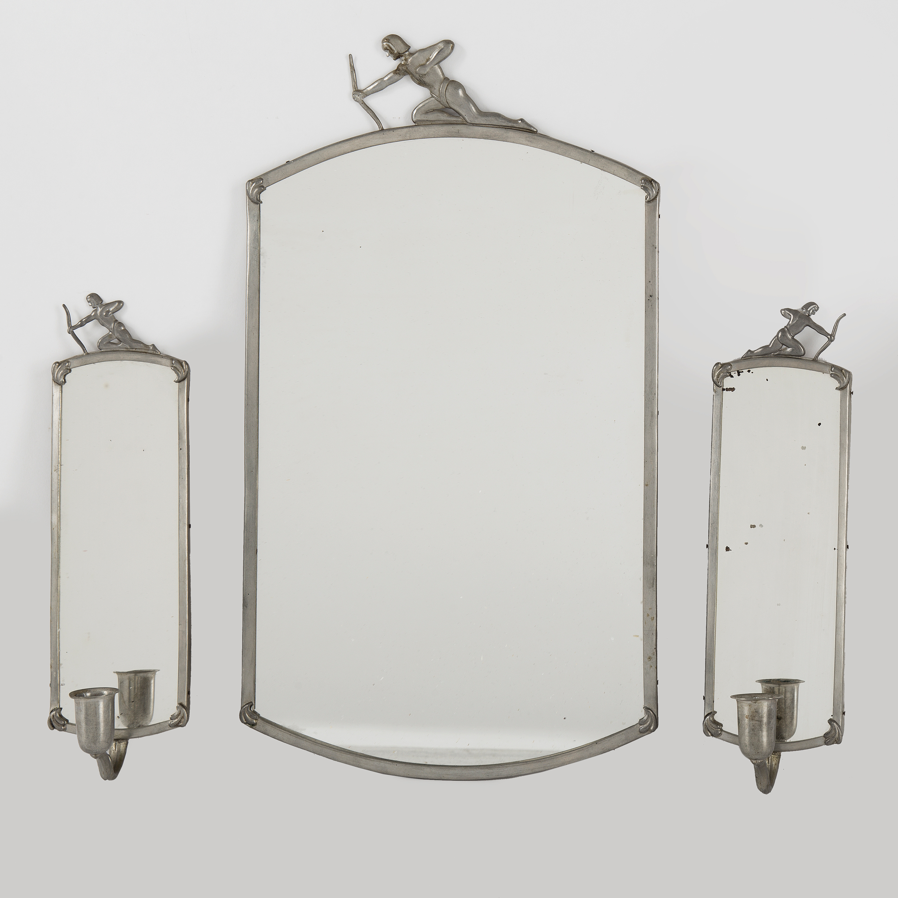 A Swedish Pewter Framed Mirror And Pair Of Wall Sconces 1930s